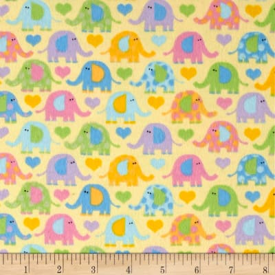 Elephants Flannel Yellow