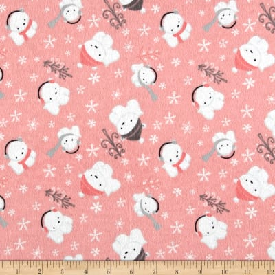 Printed Flannel Polar Cubs  Pink