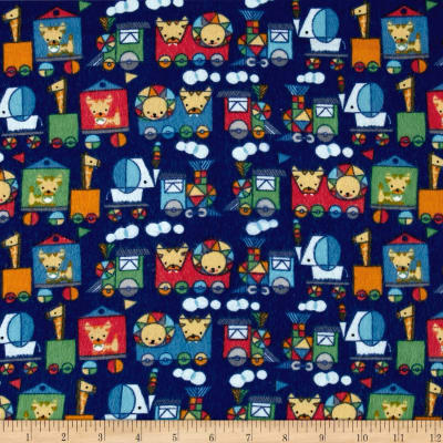 Jungle ChooChoo Flannel Dark Blue