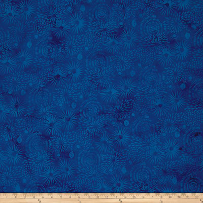 Island Batik Pressed Petals Large Mixed Floral Blueberry
