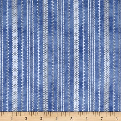 Roly-Poly Snowmen Stitched Ticking Blue