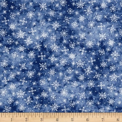 Roly-Poly Snowmen Stitched Snowflakes Blue