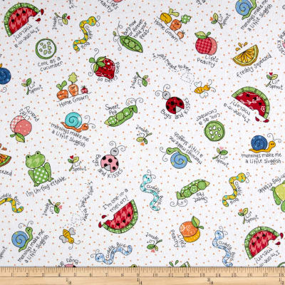 Maywood Studio Kimberbell Lil' Sprout Flannel Too! Lil' Sprout Toss White