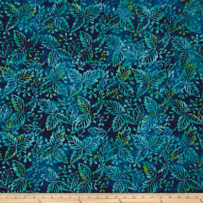 Sarah J Tranquility Batiks Leaves Blue