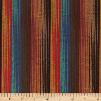 Yarn Dyed Shirting Wide Stripe Brown/Teal/Rust