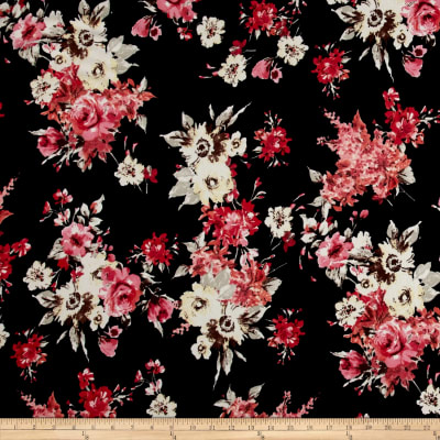 Liverpool Knit English Floral Bouquet Dark Coral on Black