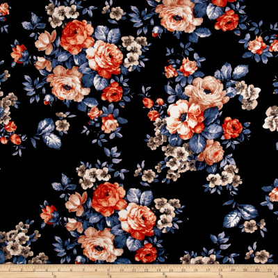 Liverpool Knit Roses Rust on Black