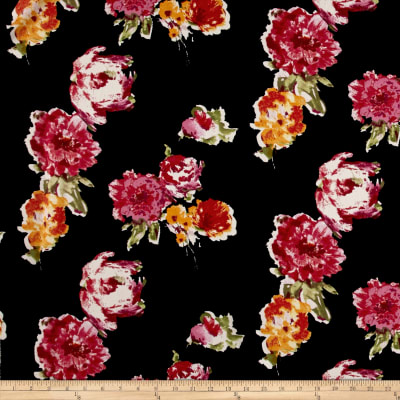 Liverpool Knit Roses Fuschia/Gold on Black