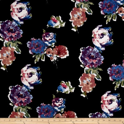 Liverpool Knit Roses Lilac/Blue on Black