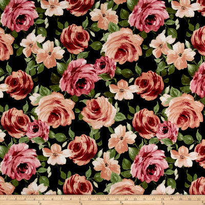 Liverpool Knit Floral Garden Mauve on Olive