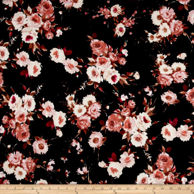 Liverpool Knit English Floral Rust on Black