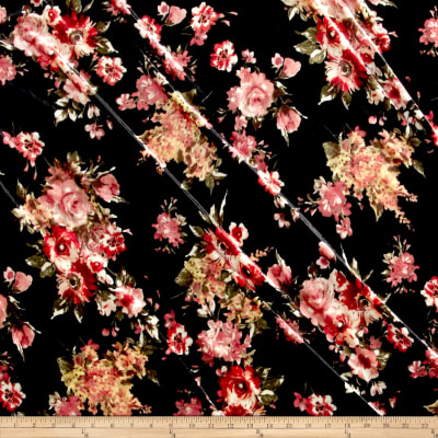 Stretch Velvet Print Floral Mauve on Black