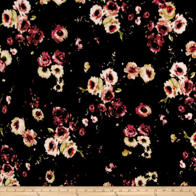 Stretch Velvet Print Rose Bouquet Mauve/Taupe on Black