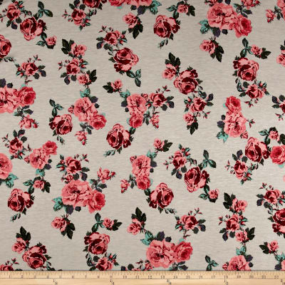 Rayon Spandex Jersey Knit Roses Pink on Stone