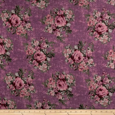 Rayon Spandex Jersey Knit Distressed Roses Mauve