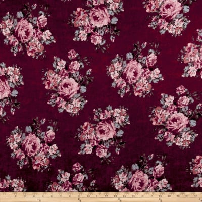 Rayon Spandex Jersey Knit Distressed Roses Mauve on Burgundy