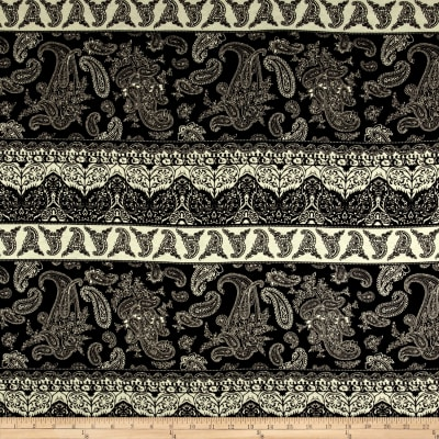 Rayon Spandex Jersey Knit Paisley Patchwork Brown/Black