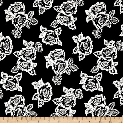Rayon Spandex Jersey Knit Roses White on Black