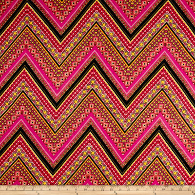 Rayon Spandex Jersey Knit Abstract Chevron Coral/Pink