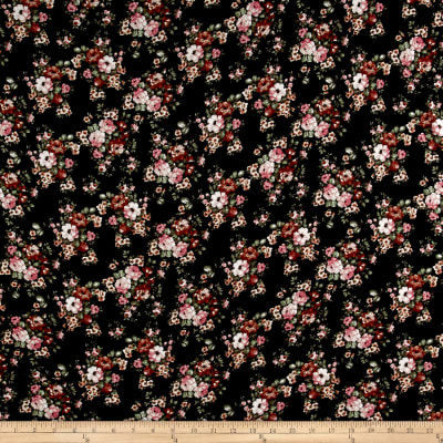 Rayon Spandex Jersey Knit Mini Floral Bouquet Mauve on Black