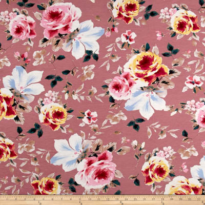 Rayon Spandex Jersey Knit Floral Pink on Pink