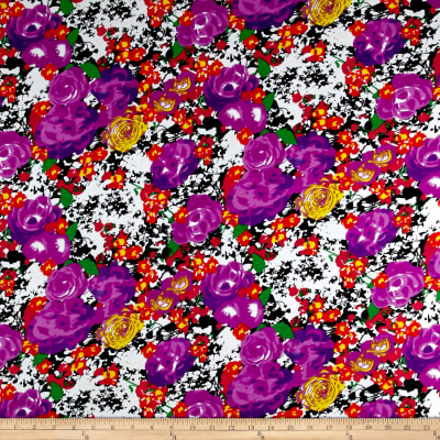 Rayon Spandex Jersey Knit Watercolor Floral Purple/Black
