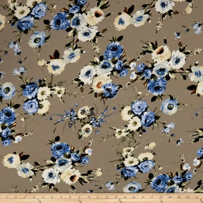 Rayon Spandex Jersey Knit English Floral Blue/Gray
