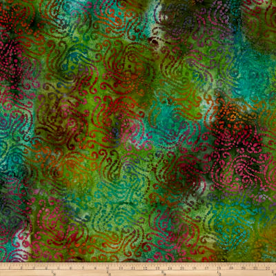 Aztec Scroll Batik Green/Gold/Teal