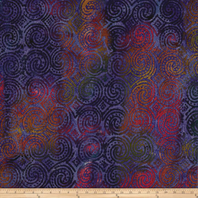Aztec Swirl Circle Dots Batik Purple/Fuchsia