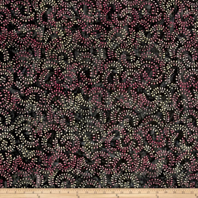 Swirl Mini Leaf Batik Black/Pink/Turq