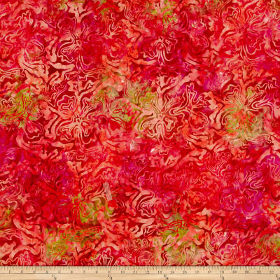 Abstract Floral Batik Fuchsia/Coral