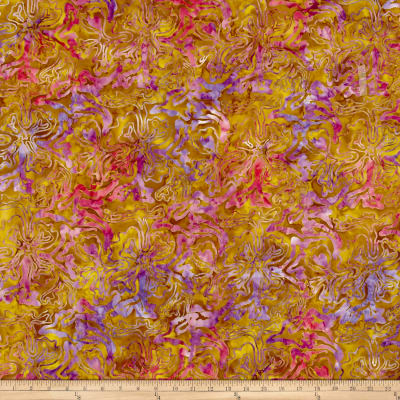 Abstract Floral Batik Gold/Purple/Fuchsia