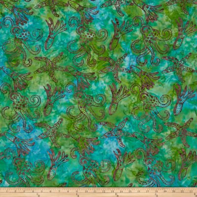 Squid Starfish Batik Aqua/Green