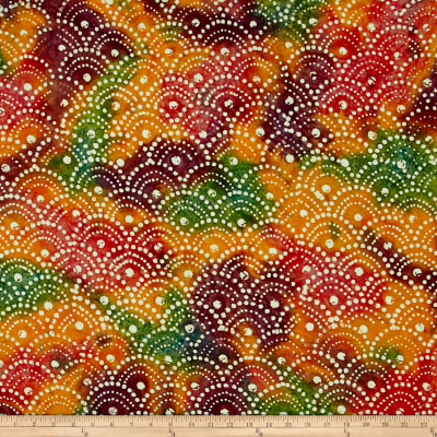 Shell Dots Batik Orange/Purple/Red