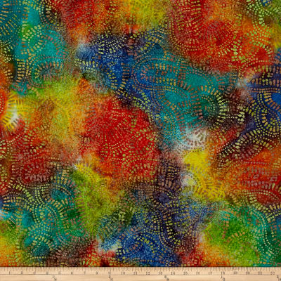 Abstract Batik  Teal/Lime/Orange