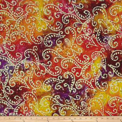 Scroll Batik Purple/Fuchsia/Gold