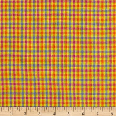 Yarn Dyed Shirting Check Yllw/Pink/Orange/Blue