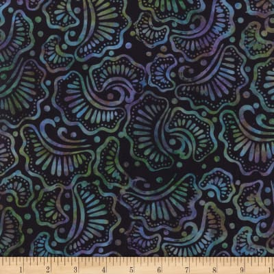 Wilmington Batiks Wavy Fans Black/Purple