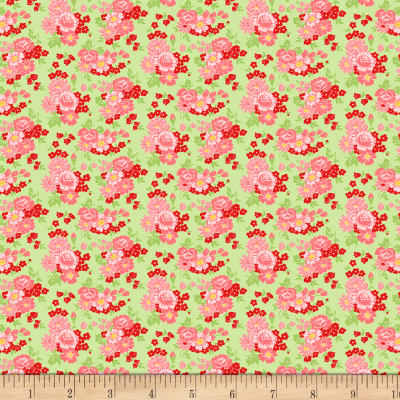 Wilmington Amorette Roses Green/Pink