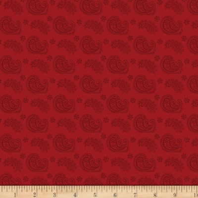Wilmington Essentials Red Carpet Paisley Toss Red on Red