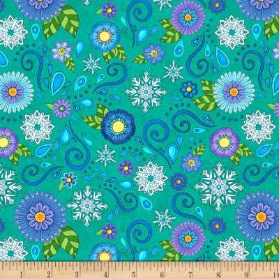 Wilmington Arctic Wonderland Flower and Snowflake Toss Teal