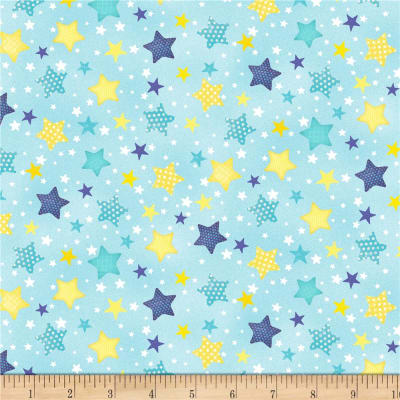Wilmington To The Moon and Back Flannel Stars Allover Aqua