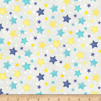 Wilmington To The Moon and Back Flannel Stars Allover Gray