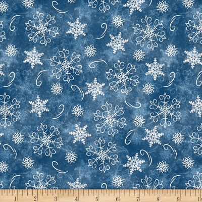 Wilmington Welcome Winter! Snowflakes Dark Blue