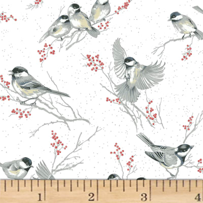 Hoffman Baby It's Cold Outside Birds Metallic White/Silver