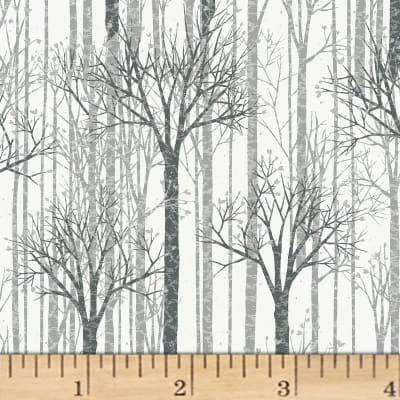 Hoffman Baby It's Cold Outside Birch Trees Metallic White/Silver