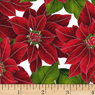 Hoffman Poinsettia Song Large Poinsettias Metallic Frost/Silver