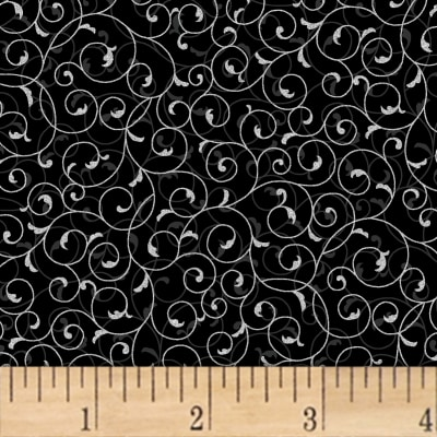 Hoffman Poinsettia Song Fluer Scroll Metallic Onyx/Silver