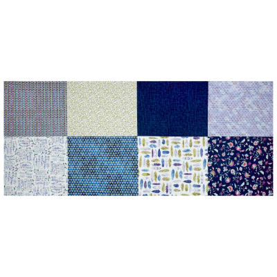 "Hoffman Digital All A Twitter Fat Quarter Multi Print 72""Panel Blueberry"