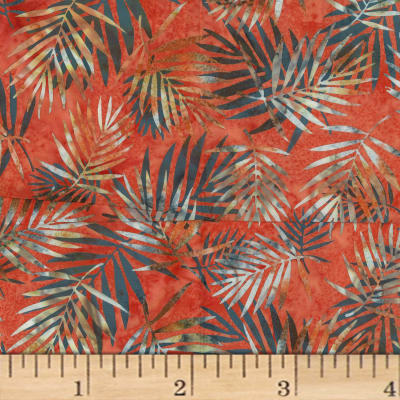 Hoffman Bali Batik Palm Leaves Crawfish